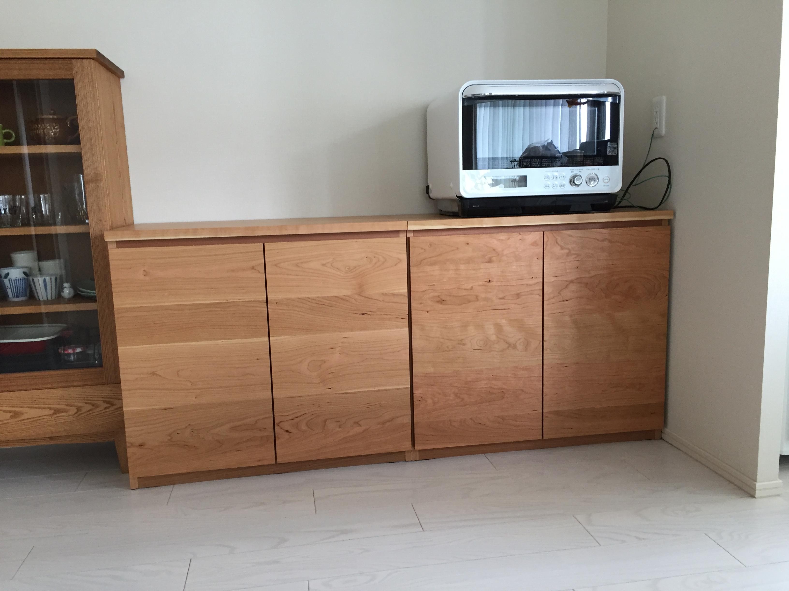 天然木・無垢の家具-ブラックチェリーのキッチン収納