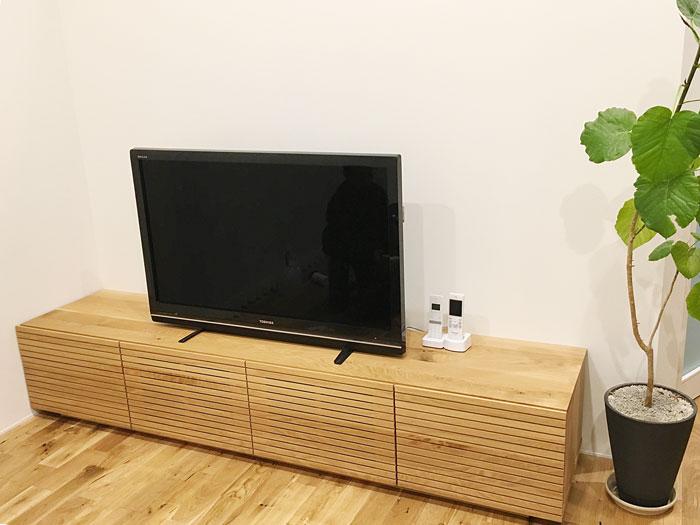 天然木TVボード-ホワイトオーク-幅2000-風雅1