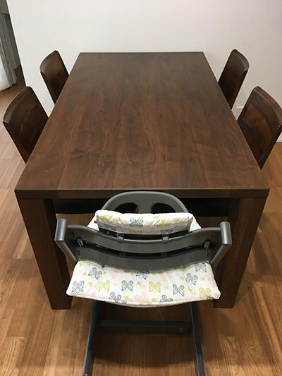 天然木のダイニングテーブル-ウォールナット-幅1500-凛1