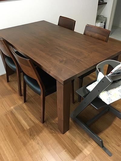 天然木のダイニングテーブル-ウォールナット-幅1500-凛2