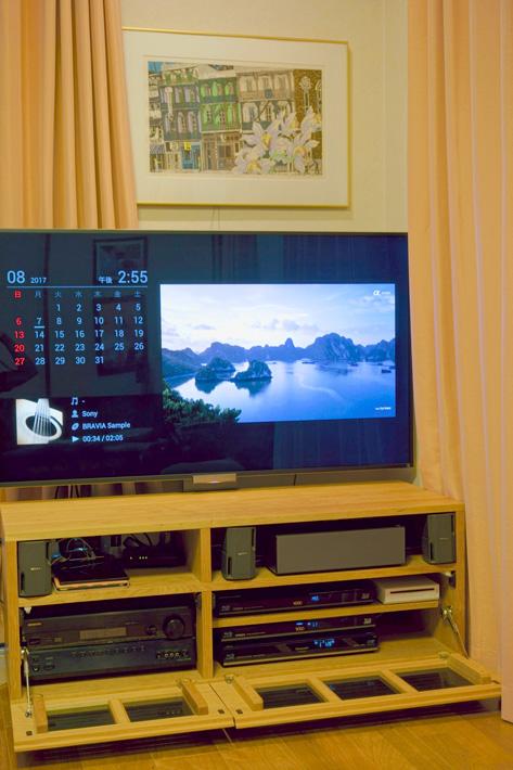 天然木のテレビボード-W1200-ブラックチェリー-オーダー仕様2