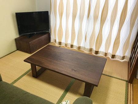 オーダー風雅テレビボード幅800mmと彩美センターテーブル1000mm ウォールナット