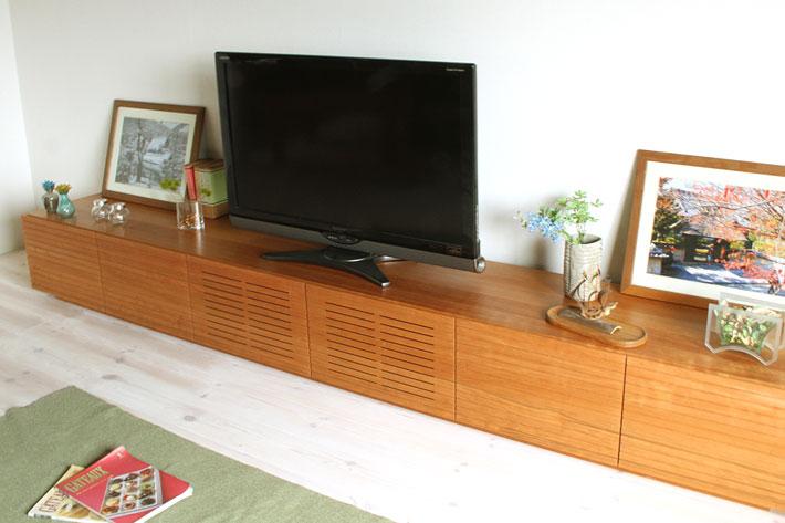 天然木・無垢の大型テレビボード風雅ブラックチェリー3000mm#01