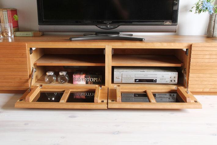 天然木・無垢の大型テレビボード風雅ブラックチェリー3000mm#10