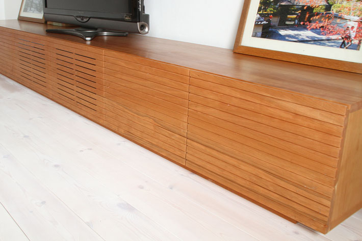 天然木・無垢の大型テレビボード風雅ブラックチェリー3000mm#13