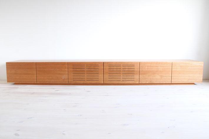 天然木・無垢の大型テレビボード風雅ブラックチェリー3000mm#14