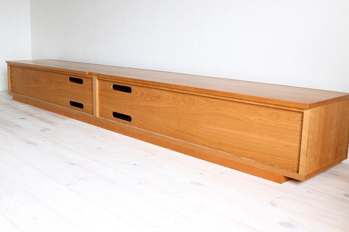 天然木・無垢の大型テレビボード風雅ブラックチェリー3000mm#16