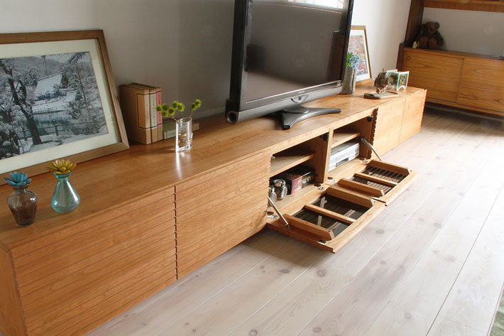 天然木・無垢の大型テレビボード風雅3000mmブラックチェリーイメージ2