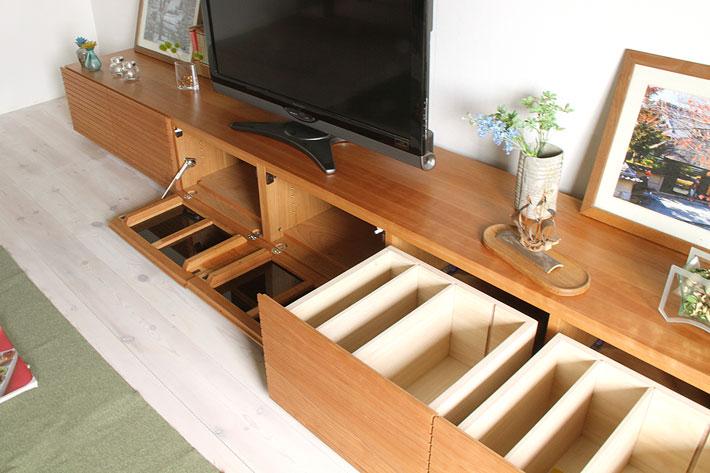 天然木・無垢の大型テレビボード風雅3000mmブラックチェリーイメージ3