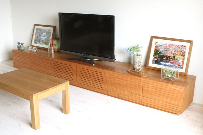 天然木・無垢の大型テレビボード風雅ブラックチェリー3000mm#05