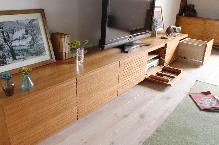 天然木・無垢の大型テレビボード風雅ブラックチェリー3000mm#06