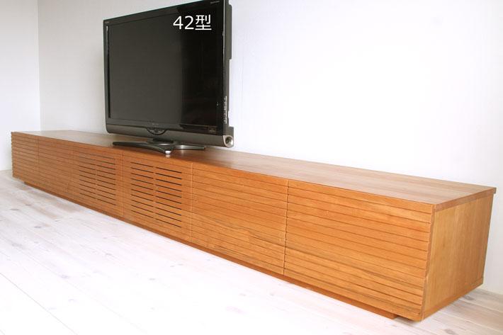 天然木・無垢の大型テレビボード風雅ブラックチェリー3000mm#07
