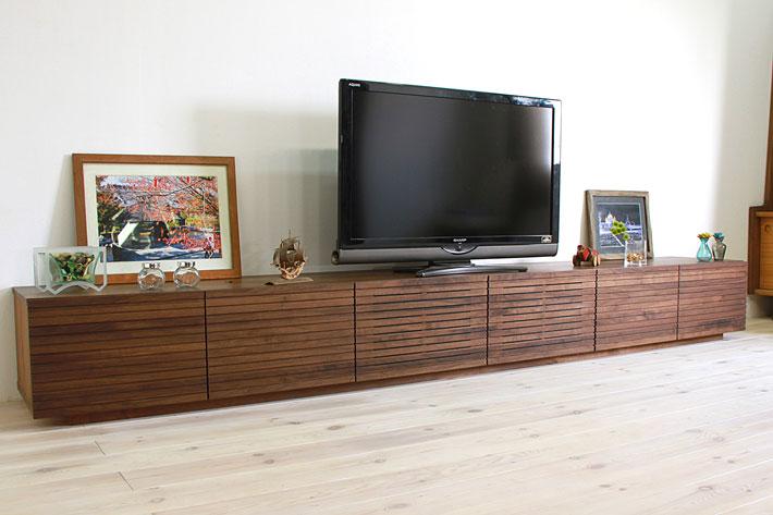 天然木・無垢の大型テレビボード風雅ウォールナット3000mm#01