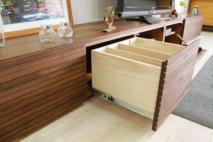 天然木・無垢の大型テレビボード風雅ウォールナット3000mm#11