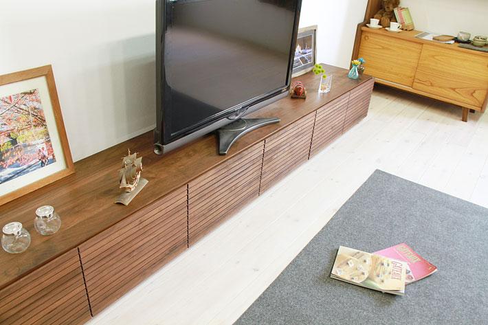天然木・無垢の大型テレビボード風雅ウォールナット3000mm#15