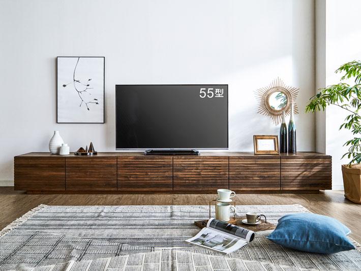 風雅3000mm無垢材の大型テレビボード