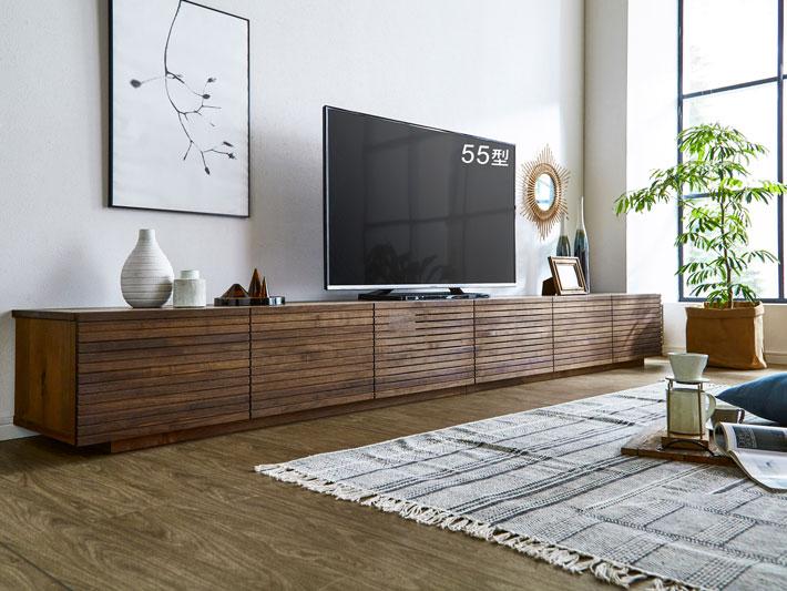 天然木・無垢の大型テレビボード風雅ウォールナット3000mm#16