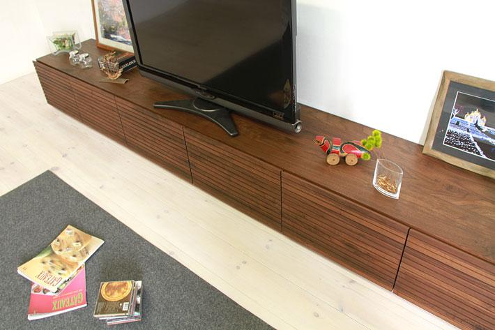 天然木・無垢の大型テレビボード風雅ウォールナット3000mm#02