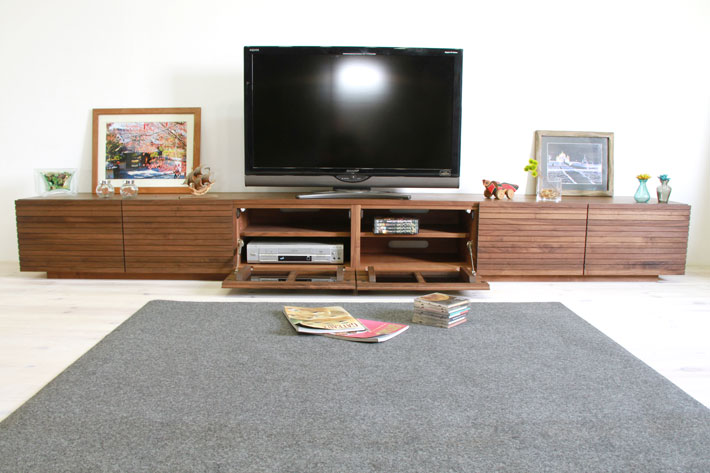 天然木・無垢の大型テレビボード風雅ウォールナット3000mm#03