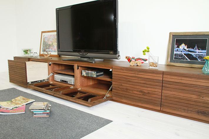 天然木・無垢の大型テレビボード風雅ウォールナット3000mm#04