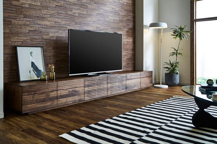 天然木・無垢の大型テレビボード風雅タイプ2ウォールナット3000mm#10