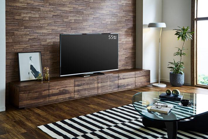 天然木・無垢の大型テレビボード風雅タイプ2ウォールナット3000mm#02