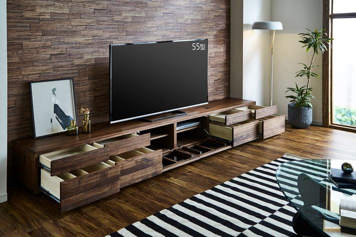 天然木・無垢の大型テレビボード風雅タイプ2ウォールナット3000mm#03