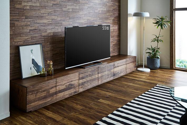 天然木・無垢の大型テレビボード風雅タイプ2ウォールナット3000mm#04