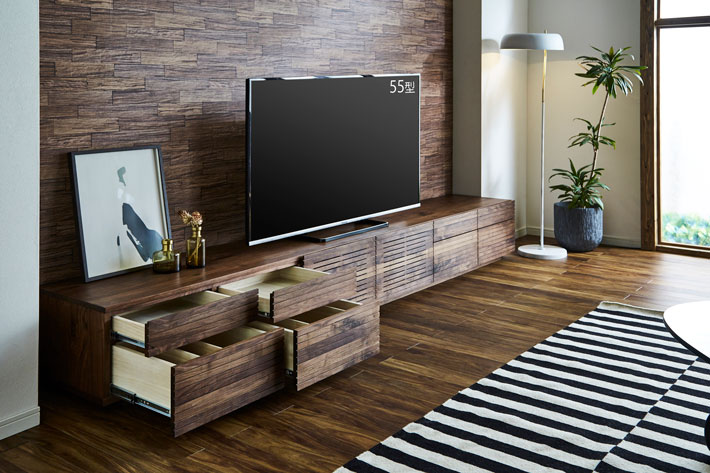 天然木・無垢の大型テレビボード風雅タイプ2ウォールナット3000mm#05