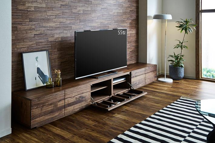 天然木・無垢の大型テレビボード風雅タイプ2ウォールナット3000mm#06